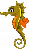 stock photo of seahorse  - Cute seahorse gold and orange vector illustration - JPG