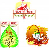 image of dhol  - Shubh Vivah Indian Wedding the Betel Leaf symbolizes Prosperity the Elephant symbolizes Wisdom the Dhol Drums symbolizes Festive Music vector illustration - JPG