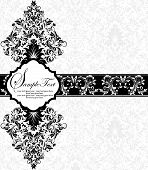 stock photo of dinner invitation  - Vintage invitation card with ornate elegant retro abstract floral design black flowers and leaves on white background with ribbon - JPG