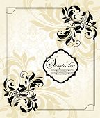 picture of royal botanic gardens  - Vintage invitation card with ornate elegant retro abstract floral design black flowers and leaves on pale yellow and white background with frame border - JPG