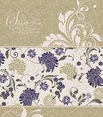 stock photo of classic art  - Vintage invitation card with ornate elegant retro abstract floral design gray and khaki brown flowers and leaves on flesh background and flesh flowers and leaves on khaki brown background - JPG
