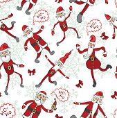 Santa Claus,snowflakes seamless pattern