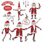 Santa Claus set.Humorous flat figure
