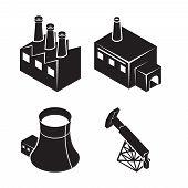 Flat isometric factory icons