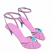 stock photo of ankle shoes  - Pink stilleto heels or hig heels shoes with ankle strap and blue ribbon 3D illustration isolated against a white background - JPG