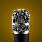 Wireless Microphone On Yellow Background
