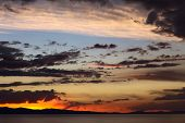 Evening Sky Over Lake Titicaca at Copacabana, Bolivia