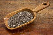 rustic scoop of chia seeds against grunge wood table