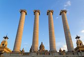 Columns and National Art Museum of Catalonia, Barcelona, Spain