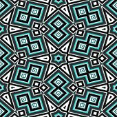 Seamless Geometric Pattern In Black And Turquoise