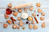 homemade delicious christmas gingerbread cookies - sweet food