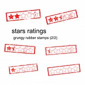 Red Grungy Rubber Stamp Five Stars Ratings