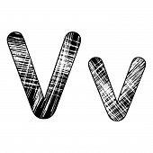Grunge Scratch Letter V Alphabet Symbol Design On White.