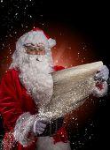 Photo of Santa Claus with eyeglasses.