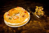 stock photo of epiphany  - Roscon de Reyes traditional Spanish Epiphany cake - JPG