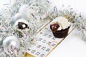Cupcake Lamb With Calendar As Simbol 2015 New Years Isolated