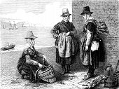 Fishmongers At Wales, Vintage Engraving.