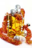 Christmas Balls And Tinsel In Gift Bag New Year Isolated