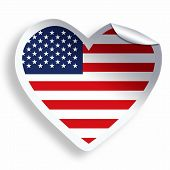 Heart Sticker With Flag Of Usa Isolated On White