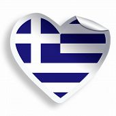 Heart Sticker With Flag Of Greece Isolated On White