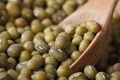 Raw Green Mung Bean In Wooden Spoon Macro