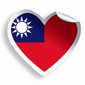 Heart Sticker With Flag Of Taiwan Isolated On White