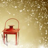 Christmas background with red lantern and snow