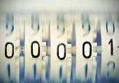 Numbers 00001 From Mechanical Scoreboard. Stylized Photo.
