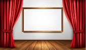 Background with red velvet curtain and a wooden floor.