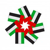 A symbolic graphic made with UAE flag icon, represents seven emirates in the united arab emirates. Vector illustration.