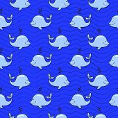 Seamless pattern with whale on blue ocean background in doodle style