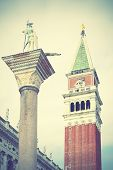Campanile and statue of St.Theodore on San Marco square, Venice, Italy.  Instagram style filtred image