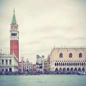 Campanile and Doge's palace, Venice, Italy.  Instagram style filtred image