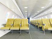 airplane interior seats .3d rendering