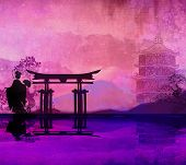 stock photo of geisha  - Geisha silhouette at Japanese sunset landscape  - JPG