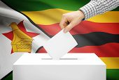 Voting Concept - Ballot Box With National Flag On Background - Zimbabwe