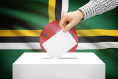Voting Concept - Ballot Box With National Flag On Background - Dominica