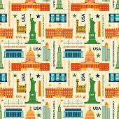 Landmarks of United States of America vector seamless pattern