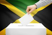 Voting Concept - Ballot Box With National Flag On Background - Jamaica