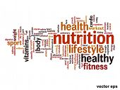 Vector concept or conceptual nutrition and abstract health word cloud or wordcloud on white background