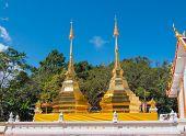 Twin Golden Pagoda At Wat Phra Thart Doi Tung, Thailand