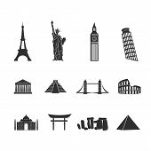 World landmarks black and white icons set