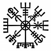 foto of wolfsangel  - �Vegvisir�. The Magic Navigation Compass of Vikings. Runescript from Ancient Medieval Icelandic Manuscript Book. Talisman for luck road and good voyage. - JPG