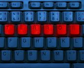 picture of terrorism  - Dirty blue keyboard with red notice Terror - JPG