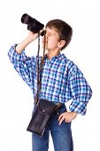 foto of spyglass  - boy looking to spyglass - JPG