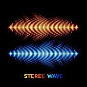 foto of waveform  - Blue and orange stereo sound or music waveform - JPG