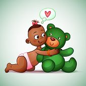 image of teddy  - Little Indian girl hugging  teddy bear green - JPG