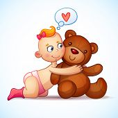 picture of teddy  - Baby girl redhead hugs  Teddy Bear toy on a white background - JPG