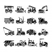 foto of heavy equipment operator  - set of 16 heavy construction machinery icons - JPG