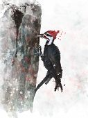 stock photo of woodpecker  - Digital Painting Of Pileated Woodpecker - JPG